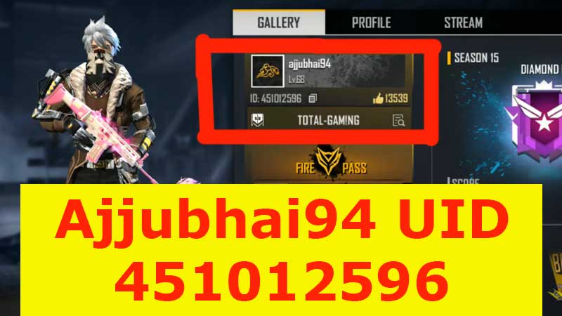 total Gaming Garena Free Fire UID number and Monthly income